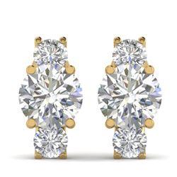 2.9 CTW Certified VS/SI Diamond 3 Stone Stud Earrings 14K Yellow Gold - REF-587H3W - 30308