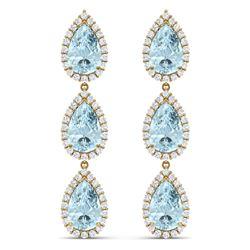 27.3 CTW Royalty Sky Topaz & VS Diamond Earrings 18K Yellow Gold - REF-290R9K - 38852
