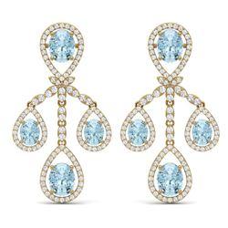 25.94 CTW Royalty Sky Topaz & VS Diamond Earrings 18K Yellow Gold - REF-418M2F - 38582