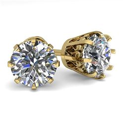 2.50 CTW VS/SI Diamond Stud Solitaire Earrings 14K Yellow Gold - REF-736M4F - 29548