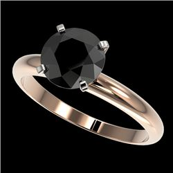 2 CTW Fancy Black VS Diamond Solitaire Engagement Ring 10K Rose Gold - REF-54F2M - 32936