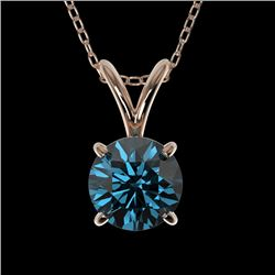 0.78 CTW Certified Intense Blue SI Diamond Solitaire Necklace 10K Rose Gold - REF-100X2T - 36745