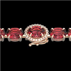 27 CTW Pink Tourmaline & VS/SI Diamond Tennis Micro Halo Bracelet 14K Rose Gold - REF-292W5H - 23436