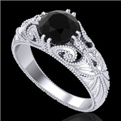 1 CTW Fancy Black Diamond Solitaire Engagement Art Deco Ring 18K White Gold - REF-90M9F - 37527