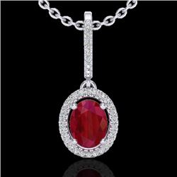 2 CTW Ruby & Micro Pave VS/SI Diamond Necklace Solitaire Halo 18K White Gold - REF-64R2K - 20667