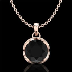 1.13 CTW Fancy Black Diamond Solitaire Art Deco Stud Necklace 18K Rose Gold - REF-94X5T - 37423
