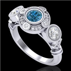 1.51 CTW Intense Blue Diamond Solitaire Art Deco 3 Stone Ring 18K White Gold - REF-218X2T - 37712