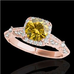 1.36 CTW Certified Si Fancy Intense Yellow Diamond Solitaire Halo Ring 10K Rose Gold - REF-161F8M -