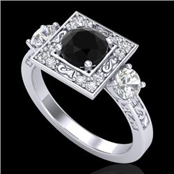 1.55 CTW Fancy Black Diamond Solitaire Art Deco 3 Stone Ring 18K White Gold - REF-149R3K - 38171