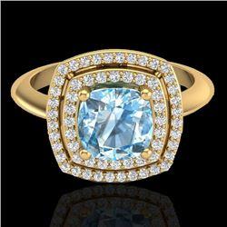 2.02 CTW Sky Blue Topaz & Micro VS/SI Diamond Certified Halo Ring 18K Yellow Gold - REF-63K6R - 2075