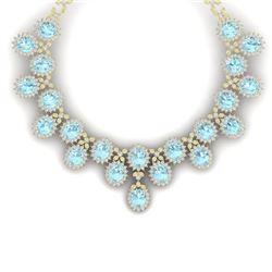 83 CTW Royalty Sky Topaz & VS Diamond Necklace 18K Yellow Gold - REF-1381N8Y - 38633