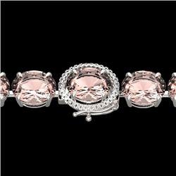 67 CTW Morganite & Micro Pave VS/SI Diamond Halo Bracelet 14K White Gold - REF-763R6K - 22269