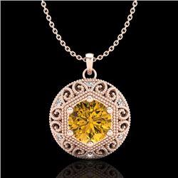 1.11 CTW Intense Fancy Yellow Diamond Art Deco Stud Necklace 18K Rose Gold - REF-180Y2N - 37568