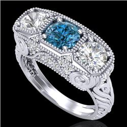 2.51 CTW Intense Blue Diamond Solitaire Art Deco 3 Stone Ring 18K White Gold - REF-345T5X - 37719