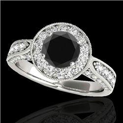 2 2 CTW Certified Vs Black Diamond Solitaire Halo Ring 10K White Gold - REF-107M5F - 34498