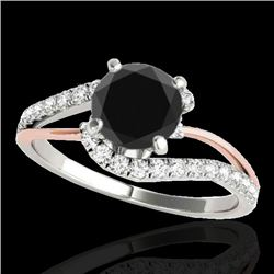1.35 CTW Certified Vs Black Diamond Bypass Solitaire Ring 2 Tone 10K White & Rose Gold - REF-62X2T -