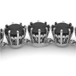 54 CTW Certified Black VS Diamond Necklace 14K White Gold - REF-1581Y8N - 29646