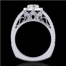 1.55 CTW VS/SI Diamond Solitaire Art Deco Ring 18K White Gold - REF-263N6Y - 37115