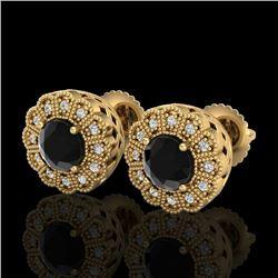 1.32 CTW Fancy Black Diamond Solitaire Art Deco Stud Earrings 18K Yellow Gold - REF-100K2R - 37837