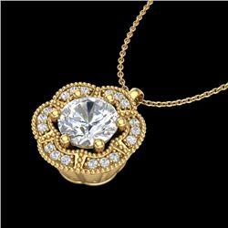 1.01 CTW VS/SI Diamond Solitaire Art Deco Necklace 18K Yellow Gold - REF-245T5X - 37111
