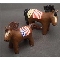 TWO NAVAJO POTTERY HORSES (MANYGOATS)