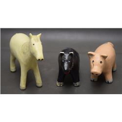 THREE NAVAJO POTTERY ANIMALS (MANYGOATS)