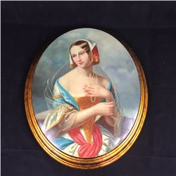 Vintage Painting of Dutch Lady with Pearl Necklace in Gilt One Piece Oval Wooden Sheild Frame - 580m