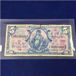 Series 521 $5 Military Payment Certificate Rare First MPC Note Currency - E00226889E