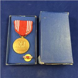 World War II USA Army Good Conduct Medal & Lapel Pin - In Original Box  No.112D - Datyed October 6 1