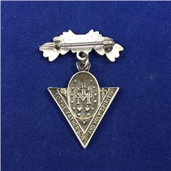 "Vintage Sterling Silver Christian ""Queen of Victory Pray for us - To the Father Son & Holy Spirit"" B"