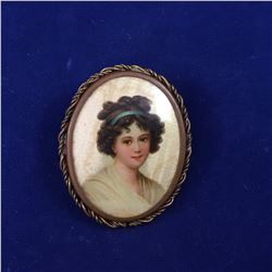 Antique Hand Painted Brooch with Lady on Silk or Possibly Ivory - 35mm x 28mm