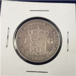 1938 Netherlands Wilhelmina I Silver Gulden Coin - Lower Mintage  - 28mm x 10 Grams @.720 Fines