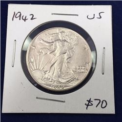 1942 US Silver Walking Liberty Half Dollar Coin - Brilliant Unc.