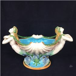 A Stunning Mid Victorian Minton Majolica Shell Form Mermaid Centerpiece