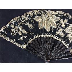 Victorian J. Duvelleroy (Paris) Hand Fan With Tortoise Shell Handles & Seperators. Complete with Ori