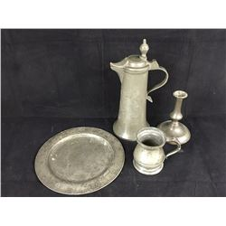Four Antique Pieces of Pewter Including Engraved 1836 Claret Jug - Height 290mm