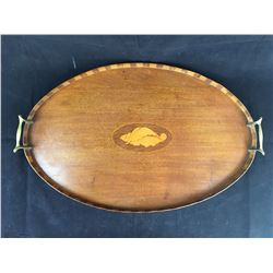 Sheraton Revivial Butlers Tray with Inlaid Wood Accents and Brass Handles - Length 570mm x 370mm Wid