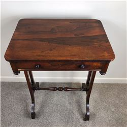 George III End Table with Single Drawer,  Sitting on turned Stretcher base with detailed Carved Rose