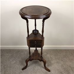 Stunning & Ornate George III Mahogany Shaving Stand with Tripod Base & Two Fitted Drawers