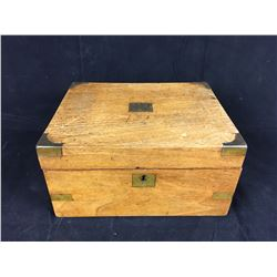Antique Walnut Writing Box with Brass Outer Bands. Inside Features Maroon Velvet and is complete wit