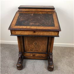 Early Victorian Davenport With Inlaid Walnut & Flame Walnut Inner