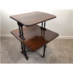 Late Victorian 2-Tier Drop Leaf Dumb Waiter on Turned Supports with a single Stretcher Base