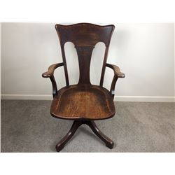 c1890 American Solid Wood Mechanical Office Chair