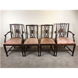 c1890 Sheraton Revival Pair of Carver Chairs & Two Side Chairs