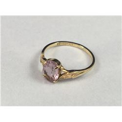 Vintage 10ct Gold Ring with Leaf Supports Centering a Amethyst Stone - Size 15.50 mm - Weight 1.40 G