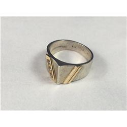 Vintage Sterling Silver & 14ct Gold Ring with Triple Diamonds - Inside Diameter 17.25mm - Weight 6.4