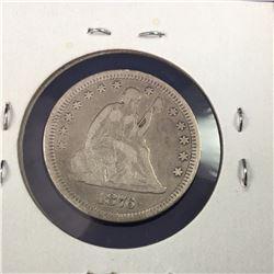 1876-CC US Seated Liberty Silver Quarter Dollar Coin  (Carson City Mint)