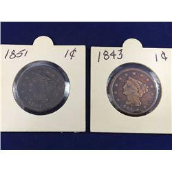 Two US Braided Hair Cents 1843 & 1851
