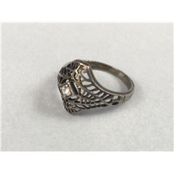 Art Deco Sterling Silver Lattice Work Ring with Old Cut Diamond - Inside Diameter 19mm - Weight 3 Gr