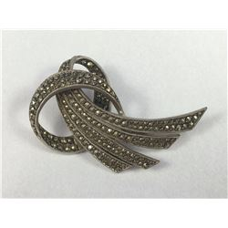 Art Deco Sterling Silver & Marcasite Brooch ( Back Bar Missing) 50mm Tall - Weight 11.23 Grams
